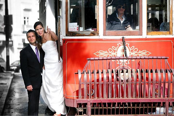 Tramway mariage voiture de mariage